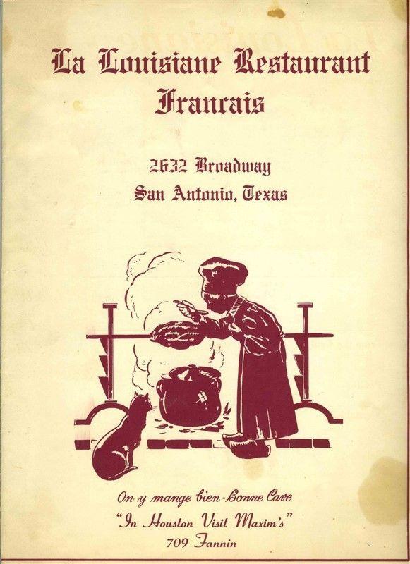 La Louisiane French Restaurant Menu & Wine List Broadway San Antonio Texas   | eBay