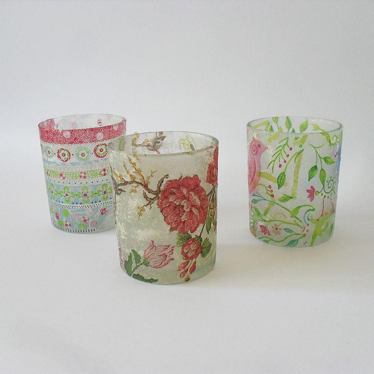 Decoupagevorm GLAASJE, versier je eigen waxinelichtjes met bijgeleverde servetten. Verkrijgbaar bij http://www.nouk-en-co.nl/product/decoupagevorm-glaasje/ voor €1,95!
