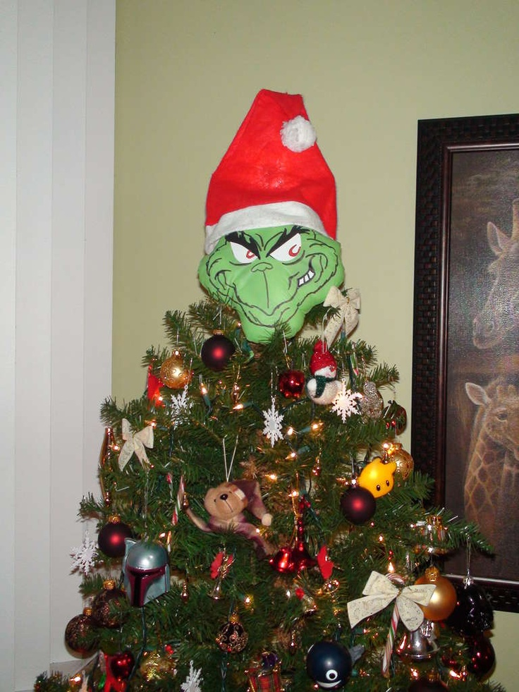 Funny Christmas Tree Decorations Part - 24: Grinch Christmas Tree Topper