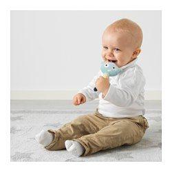 IKEA - HIMMELSK, Rassel, , Spielen soll dem Baby Spaß machen und muss sicher sein! Deshalb ist diese Rassel für Kinderhände leicht zu greifen und sie kann ordentlich geschüttelt, angeknabbert und benagt werden.Farbe, Form und Geräusche der Rassel stimulieren Feinmotorik, Sehvermögen und Tastsinn des Babys.Sanfte Töne, angepasst an das empfindliche Babygehör.