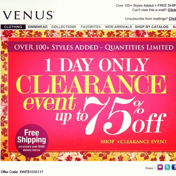 Deal Alert (US/CDN): Venus 1 Day Only Clearance Event Up To 75% Off. Happy Shopping! #deal #alert #us #canada #venus #clearanceevent #shopping #women #fashion #trend #clothing
