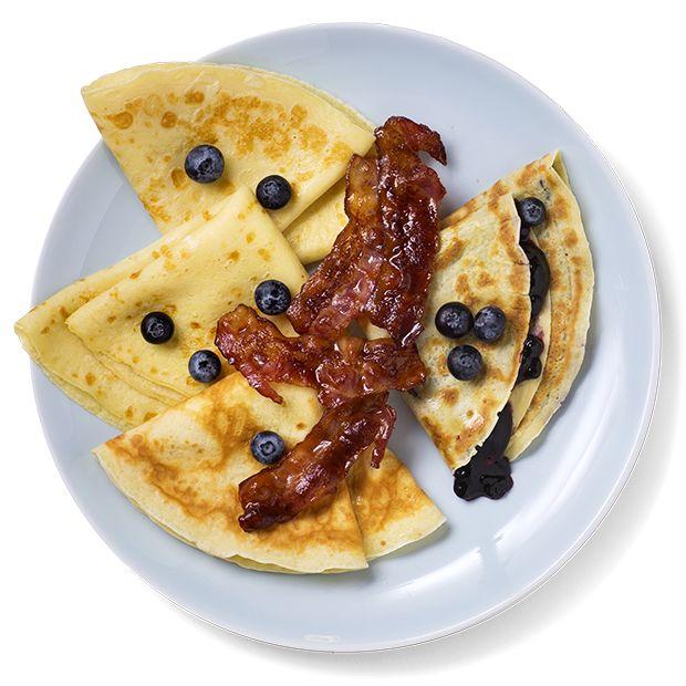 Perfekte pannekaker med bacon og blåbær -