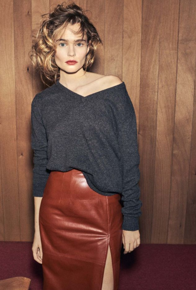 Grey sweater and brown leather skirt