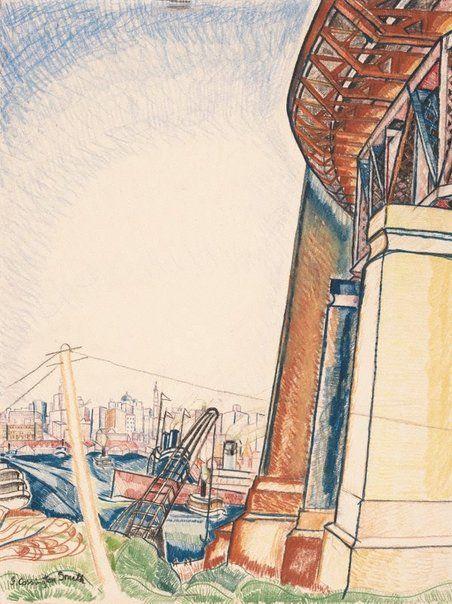 Circular Quay do ponto do Milson. 1929. Desenho a lápis de cor e lápis de cera. Grace Cossington Smith (Sydney, Nova Gales do Sul, Austrália, 20/04/1892 - 20/12/1984, Sydney, Nova Gales do Sul, Austrália). Encontra-se na Galeria de Arte de Nova Gales do Sul em Sydney, Nova Gales do Sul, Austrália.