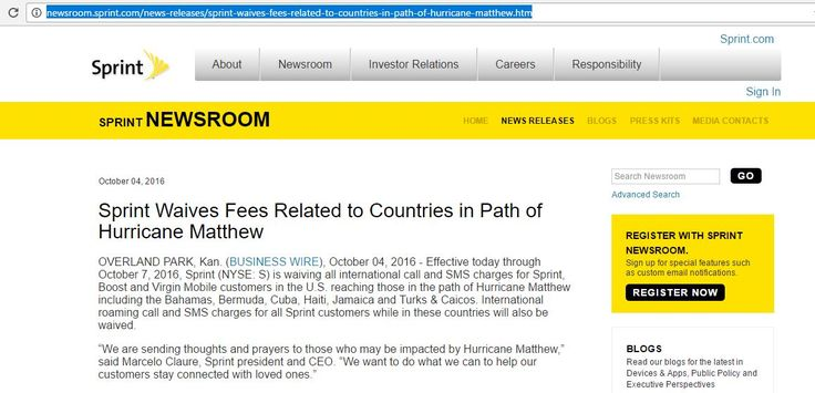Sprint ofrecerá llamadas gratis a Cuba hasta el día 7 con motivo de huracán Matthew