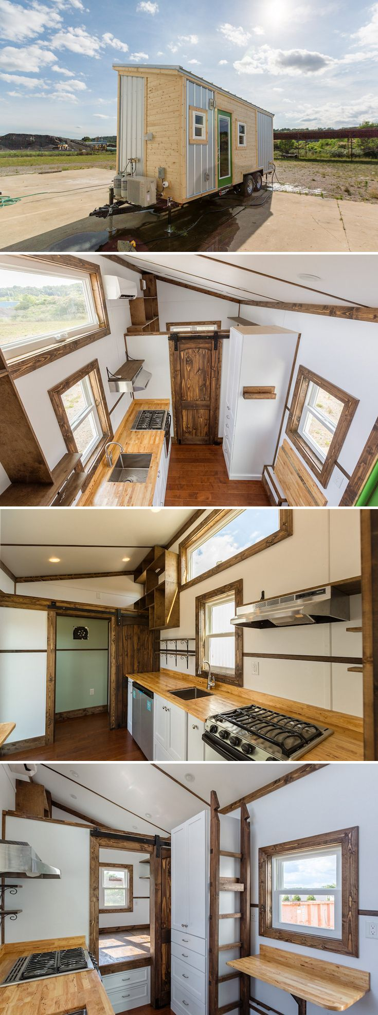 The 20' Borough offers a main floor bedroom with space to fit a king bed. In the bed platform are two drawers and three doors for storage spaces.