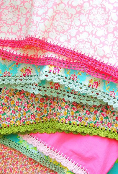 love these pillow cases...could do DIY pillowcases with pom pons too!
