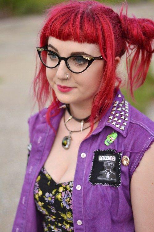 Punk Rock Style - Black Cat Eye Glasses - Rad Red Hair