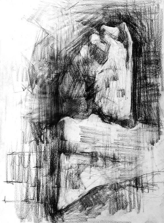 Art drawing charcoal original art Ancient Greece tample