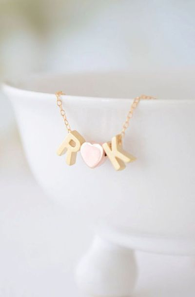 Rose Gold and Gold Love Necklace - initial heart necklace