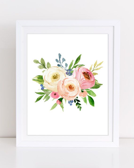 Set of 4 Prints, Floral Nursery Prints, PRINT AND SHIP, Watercolor Floral, 8x10 inch, Boho Nursery, Peony Art, Sweet Girl Art, Girls Nursery THE ART: This stunning digital design set features four floral prints. The blush pink and cream colored assortment of watercolor flowers creates a