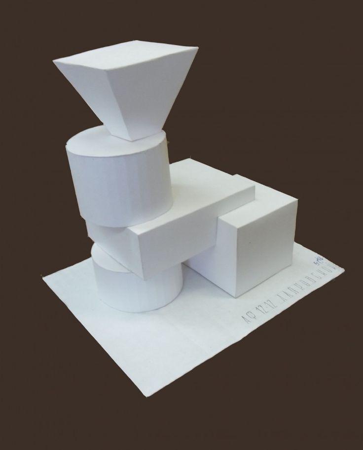 Объёмная композиция из геометрических тел (бумага, клей)