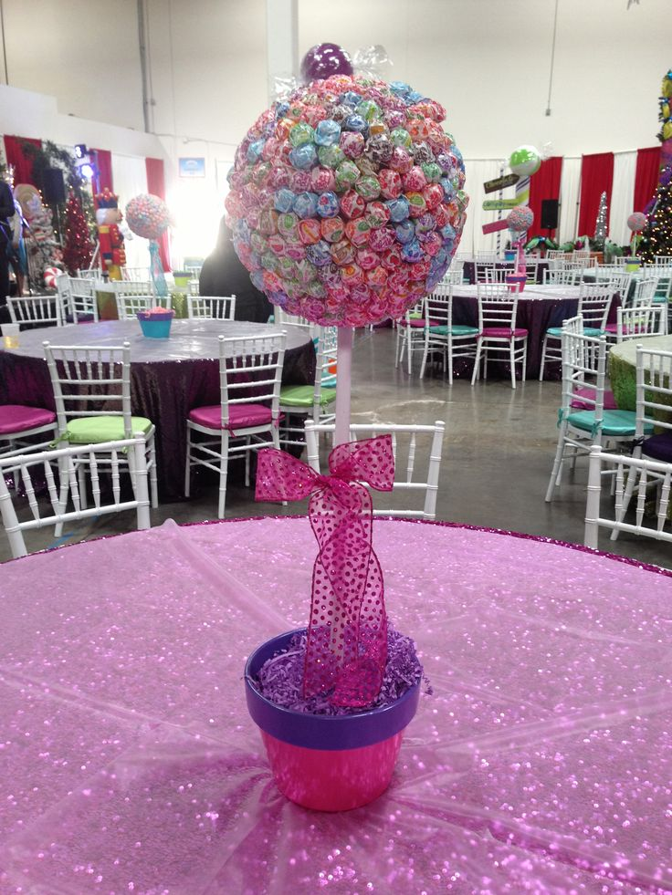 Dum Dum Centerpiece For Little Girl Birthday Party