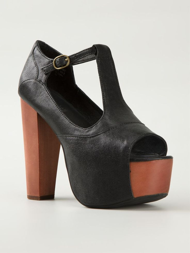 Black calf leather 'Foxy' sandals from Jeffrey Campbell