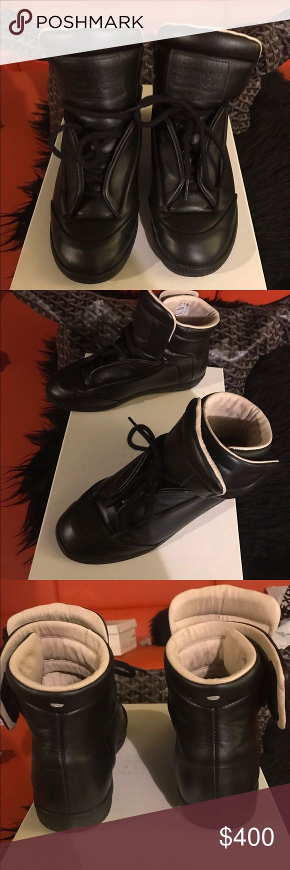 Women's maison martin margiela high top sneakers Blk leather margiela sneakers. Worn!! But in good condition 💯 authentic. MAKE AN OFFER Maison Martin Margiela Shoes Sneakers