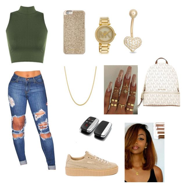 """""""School"""" by tiarrahlarkins on Polyvore featuring WearAll, Puma, Michael Kors, Gioelli and MICHAEL Michael Kors"""