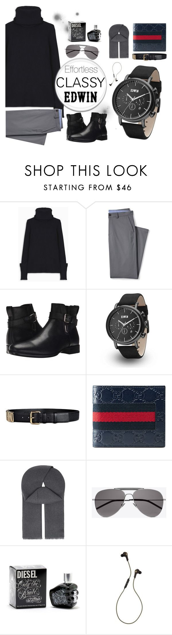 """Effortless Classy"" by zlab-watch ❤ liked on Polyvore featuring Atea Oceanie, Lands' End, Aquatalia by Marvin K., Moschino, Gucci, Yves Saint Laurent, Diesel and B&O Play"