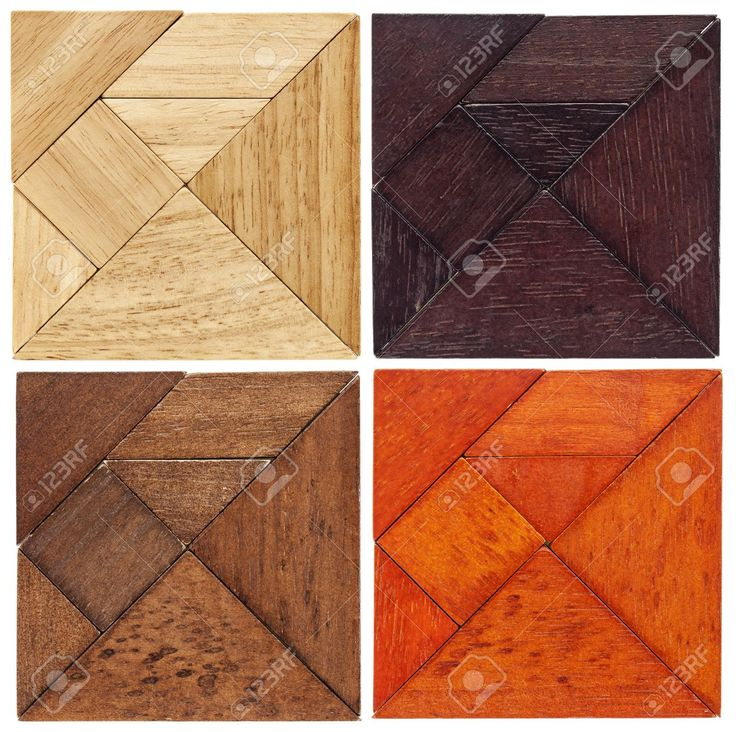 Four Tangram Squares In Different Wood, A Traditional Chinese.. Stock Photo, Picture And Royalty Free Image. Pic 20440006.