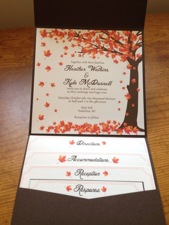 take a look at the best fall wedding invitations in the photos below and get ideas for your wedding falling leaves wedding invitation autumn by - Fall Themed Wedding Invitations