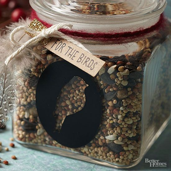 This gift is for the birds -- literally! Simply fill a jar with birdseed and embellish the jar. Add whimsy to this simple gift by painting or stamping a bird on the jar, and top it with a ribbon and handmade tag.