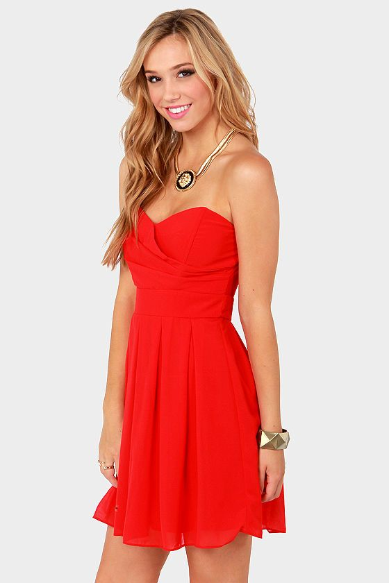 25  best ideas about Strapless red dress on Pinterest | Red prom ...