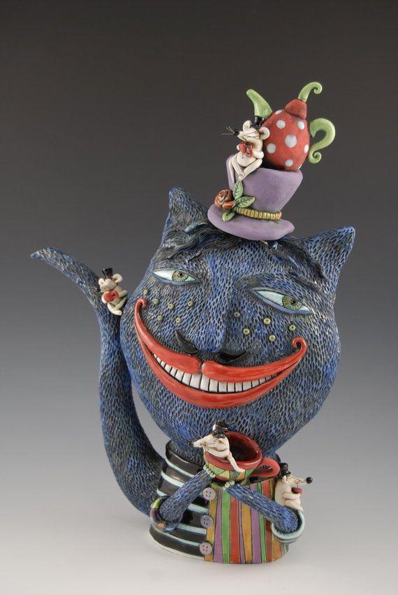 (Etsy shop Example) Cheshire Cat Teapot by natalyasots on Etsy