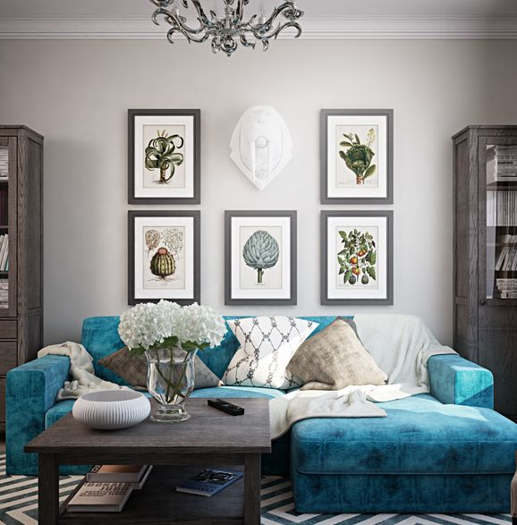 Thicker frames for your living room. Cool grey color is a nice touch with any blue furniture. Interior design by Natalie Dubchenko.