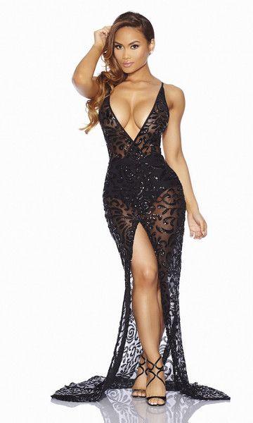 Black Sheer Sequin Evening Gown | S t y l e | Pinterest | 2 ...