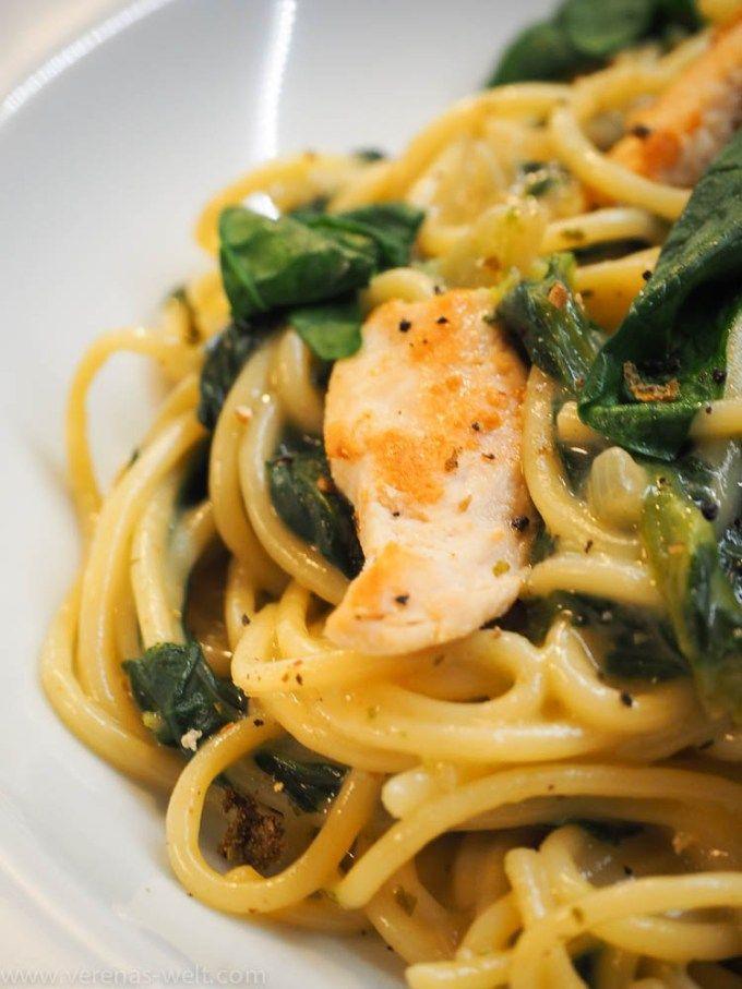 Spaghetti in cremiger Spinat-Frischkäsesauce und Hähnchenbrust - ° Verenas Welt °° Verenas Welt °