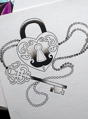 locket and key tattoo outline