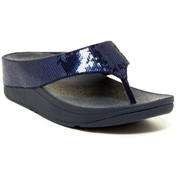 Fitflop Ringer Sequined Wedge Flip Flop ($45) ❤ liked on Polyvore featuring shoes, sandals, flip flops, supernavy, arch support flip flops, sequin flip flops, platform flip flops, wedges shoes and platform shoes