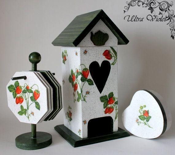 Casas de bolsa de té, caja de té con 6 taza de salvamanteles y cajas pequeñas del corazón.