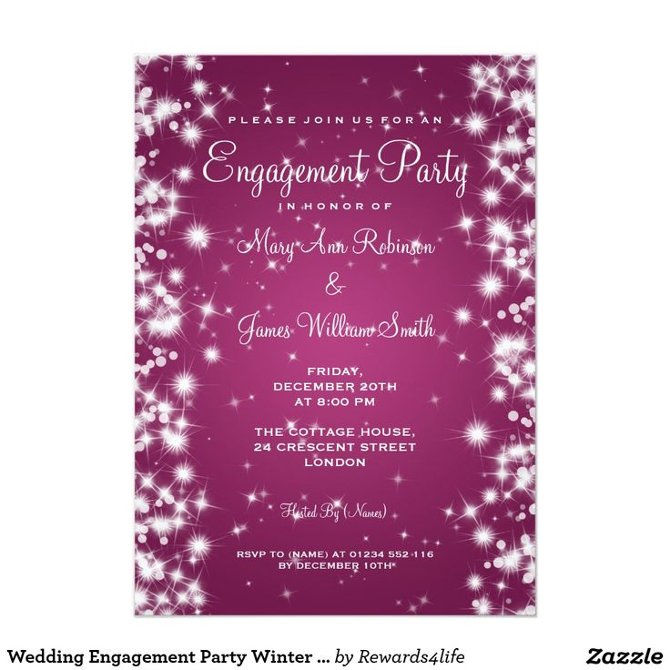Best 784 wedding engagement party invitations images on pinterest wedding engagement party winter sparkle pink card stopboris Choice Image