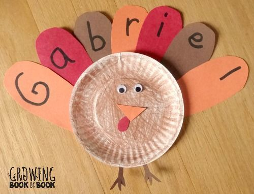 learning your name feather turkey activity from http://growingbookbybook.com