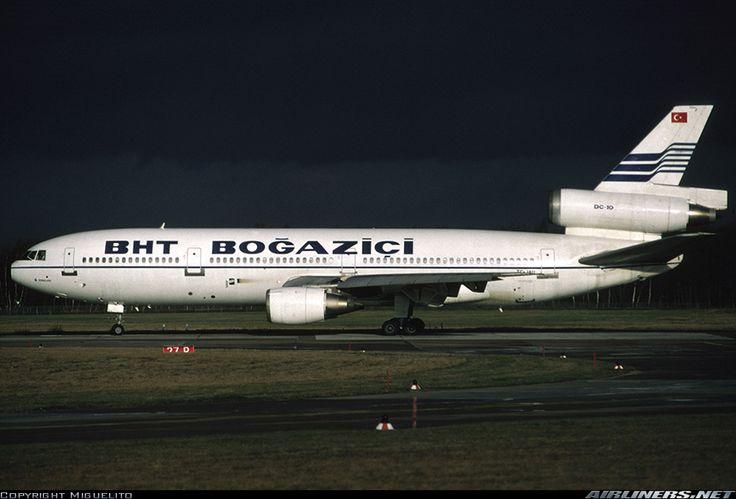 "Boğaziçi Hava Taşımacılığı - BHT McDonnell Douglas DC-10-10 TC-JAU ""Jengelky"" poised to depart Hannover-Langenhagen ahead of an approaching storm, December 1988. (Photo: Miguelito)"