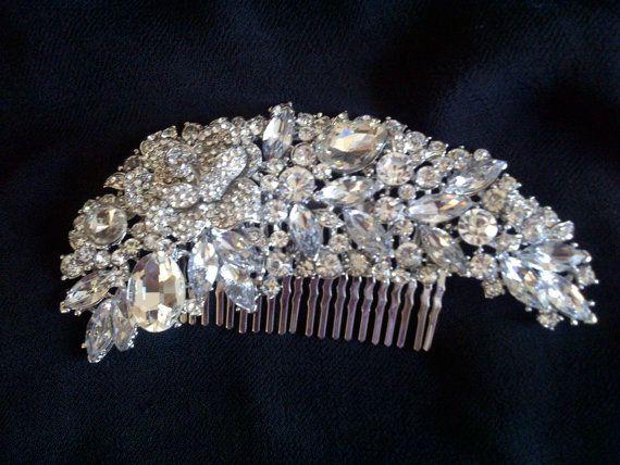 Crystal wedding hair brooch