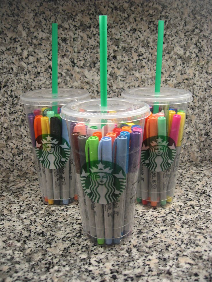 "Teacher Gifts: The cups include gift cards to Starbucks and a note with the remarks, ""A little something to keep you 'sharp' over the summer!"""