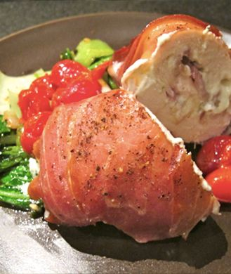 Prosciutto-Wrapped, Boursin Cheese and Bacon-Stuffed Chicken Breast