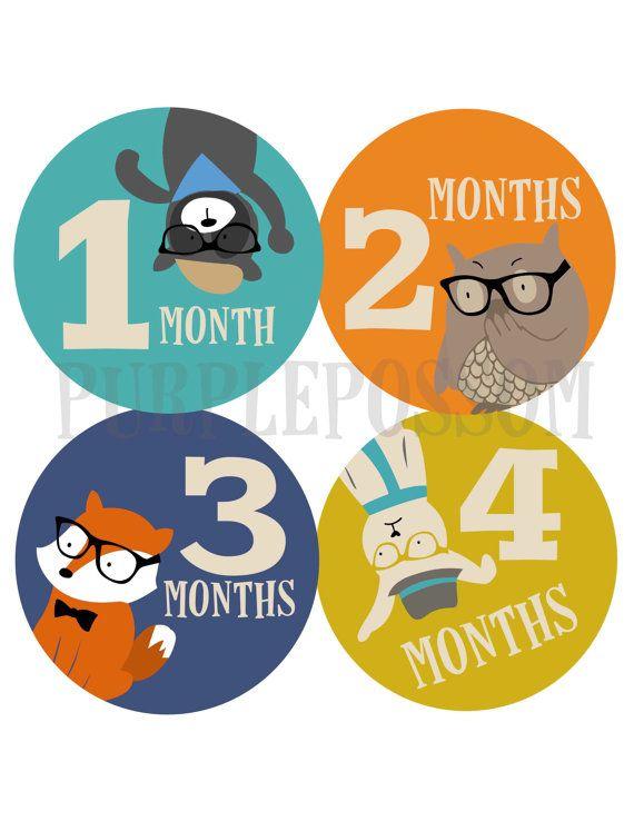 Mensile Baby adesivi ragazzo mensile Baby adesivi Body adesivi bambino mese mensile Stickers adesivi Baby adesivi Hipster animali