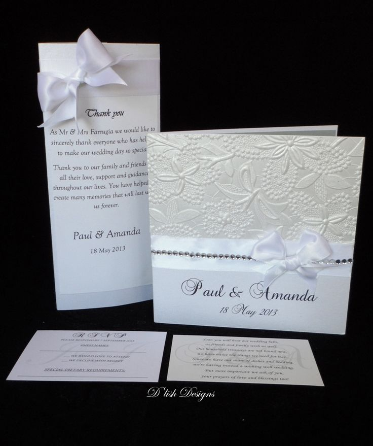 White satin and diamante wedding invitations. Matching RSVP, Wishing well card, directions map and table centre pieces. by D'lish Cupcakes & Accessories