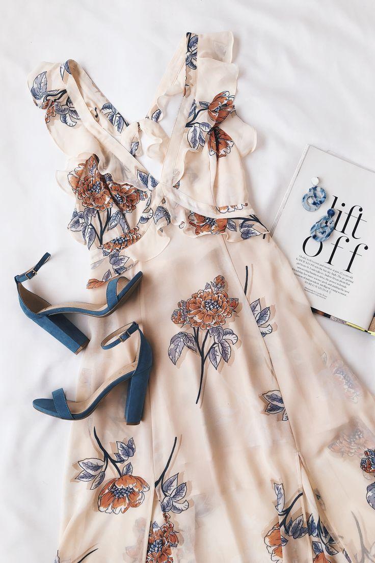 Milani Peach Floral Print Backless Midi Dress 1