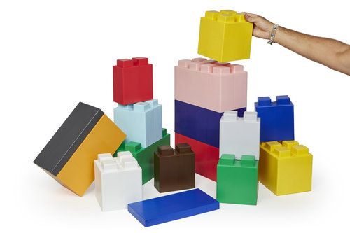 modular building system of oversized plastic blocks that facilitates the construction of all types of objects.  It's quick and easy to build
