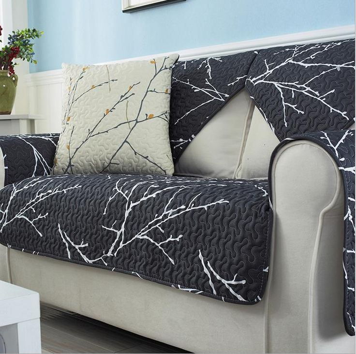 Fleeced Fabric Sofa Cover Plant Printing Soft Modern Slip Resistant Sofa  Slipcover Seat Couch Cover For