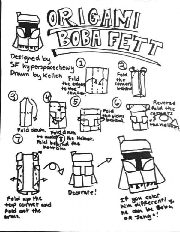 SuperFolder Hyperspacechewy This is an easy way to fold an origami Boba Fett! And if you color him gray and blue, you get Jango Fett!