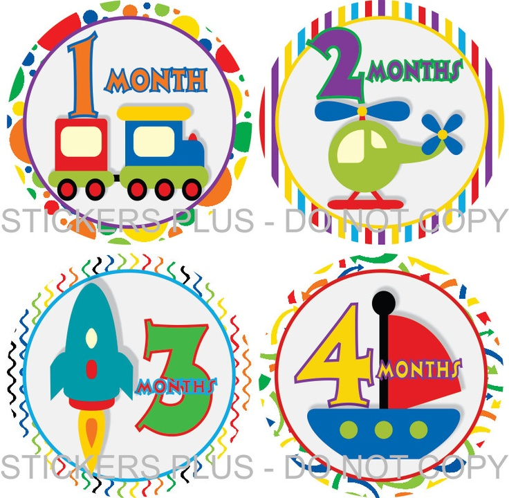Marvelous Baby Boy Monthly Onesie Stickers Plus Bonus Just Born Transportation Train Truck Boat Airplane Car