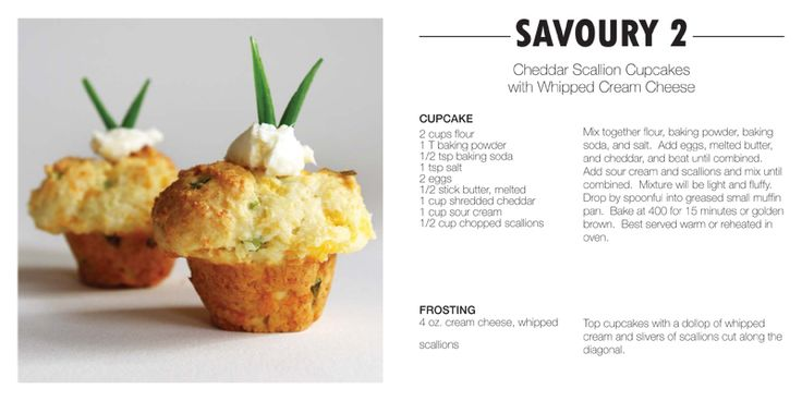 Savouries: Cheddar Cupcakes, Cream Cheese Yum, Cupcake Recipes, Cheddar Scallion, Scallion Cupcakes, Cornbread Cupcakes, Savory Cupcakes, Whipped Cream, Cream Cheeses
