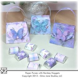 Printable Paper Purses with Hershey Nugget Wrappers - Butterfly - Floral Theme. Features beautiful butterflies in pink, teal, lilac and purple. Holds a Gift Card, Jewelry, Truffles, Candy and small gifts.  Handmade gift ideas for Mother's Day, Birthday, Women, Friends and Girls.