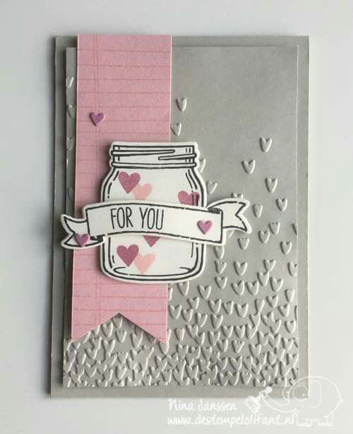 Falling hearts embossed Valentine's Day card