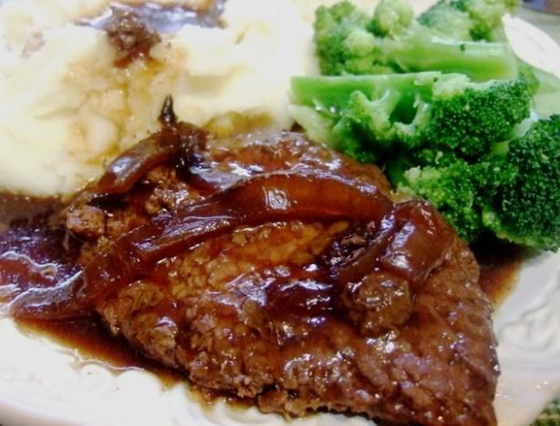 Crock Pot Melt in Your Mouth Cube Steak and Gravy -  Going to try this one as sounds too easy.  3 packets beef or mushroom gravy mix, 3 cups water, 1 onion.  Prepare gravy mix on stovetop & pour over meat that has been placed in bottom of crockpot.  Add onion & cook on low for 8 hours.