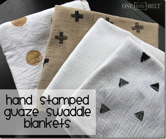 Hand Stamped Gauze Swaddle Blankets Tutorial {Nursery Notes}